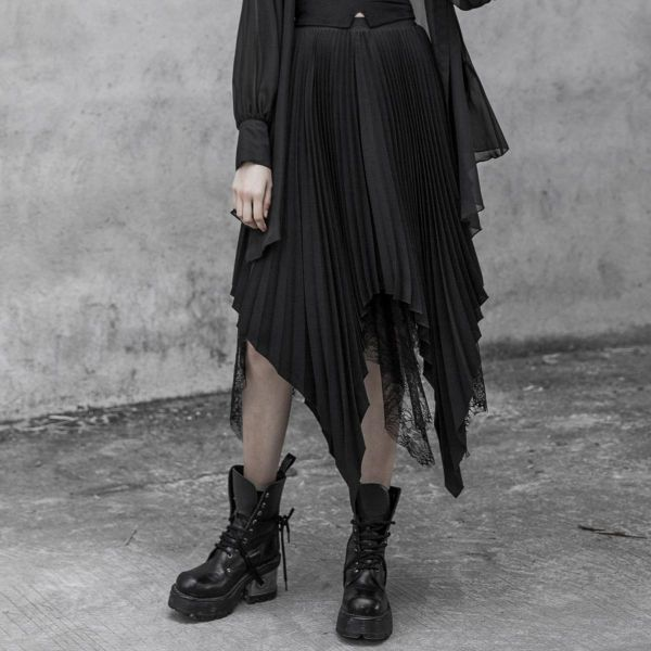 Gothic Plissee Zipfelrock mit Spitze