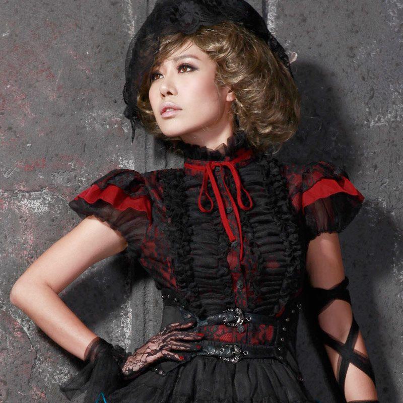 56fe770c8ad1 Rote Gothic Lolita Rüschenbluse mit schwarzer Spitze