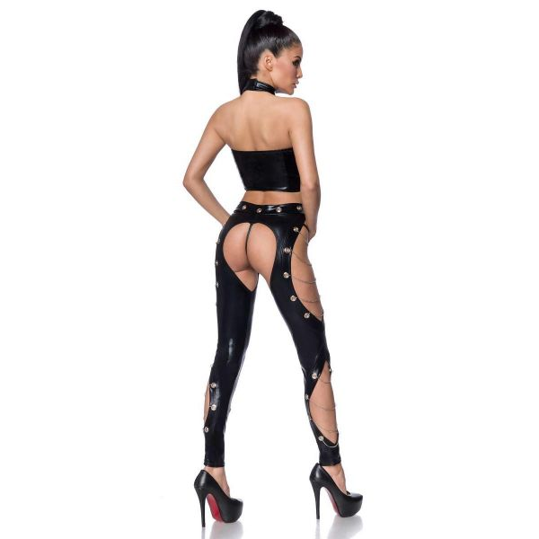 Clubwear Wetlook Set mit Chaps Leggings und Ketten