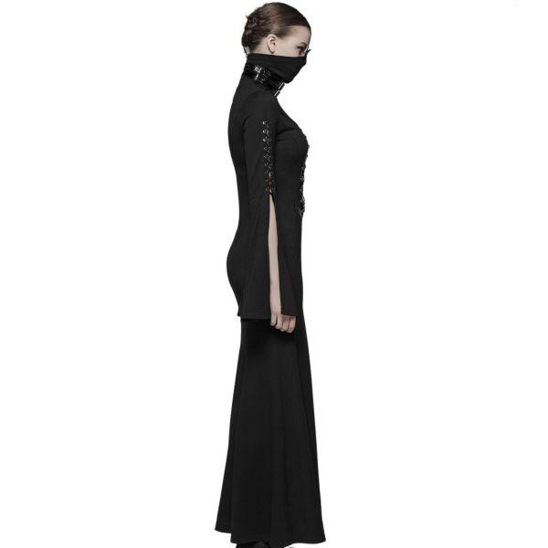 Sexy Fetisch Maxikleid mit Netz und Masken-Kragen