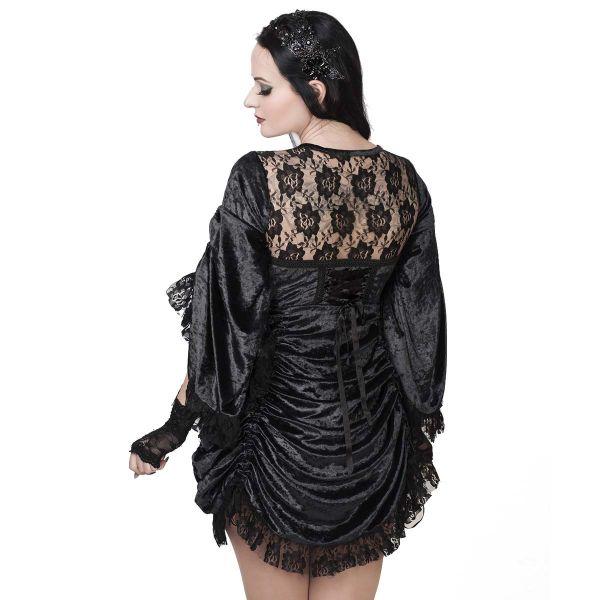 Schwarzes Gothic Samt Top & Kleid mit Spitze