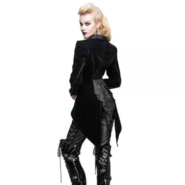 Damen Samt Frack Gehrock viktorianischer Look schwarz